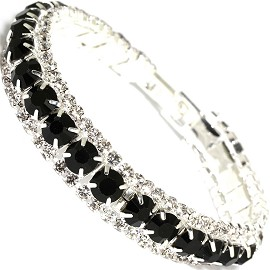 "Rhinestone Bracelet Wide 7.25"" Long, 11mm, Silver Black SBR413"