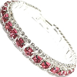 "Rhinestone Bracelet Wide 7.25"" Long, 11mm, Silver Pink SBR414"