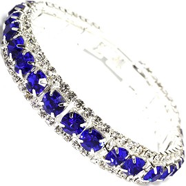 "Rhinestone Bracelet Wide 7.25"" Long, 11mm, Silver Blue SBR416"