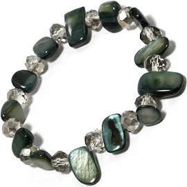 "Stretch Bracelet 6"" Crystal Rectangle Stone Clear D Green SBR421"