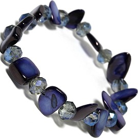 "Stretch Bracelet 6"" Crystal Rectangle Stone Blue SBR425"