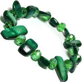 "Stretch Bracelet 6"" Crystal Rectangle Stone Green SBR429"