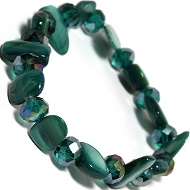 "Stretch Bracelet 6"" Crystal Rectangle Stone Teal Green SBR431"