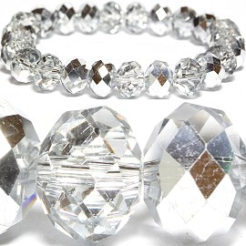 Stretch 10mm Crystal Bracelet Part Silver Part Clear SBR440