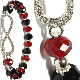 Infinity Rhinestone Stretch Crystal Bracelet Black Red SBR454