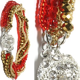 Bead Crystal Bracelet Rhinestone Magnetic Clasp Gold Red SBR475