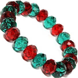 Crystal Stretch Bracelet Christmas Color 12mm Dk Red Teal SBR478