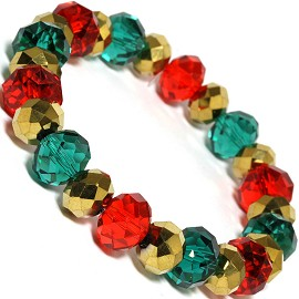 Crystal Stretch Bracelet Christmas Color Red Gold Teal SBR479 - Click Image to Close