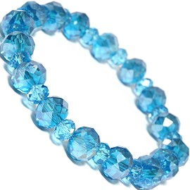 "Stretch Bracelet 7"" Crystal Oval 10mm 6mm Bead Turquoise SBR482"