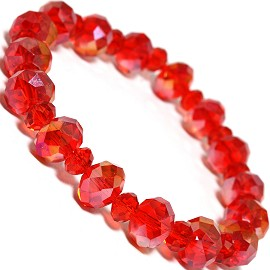 "Stretch Bracelet 7"" Crystal Oval 10mm 6mm Bead Red SBR484"
