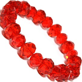 "Stretch Bracelet 7"" Crystal Oval 12mm 10mm Bead Red SBR485"