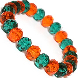 "Stretch Bracelet 7"" Crystal Oval 10x8mm Bead Teal Orange SBR487"