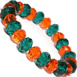 "Stretch Bracelet 7"" Crystal Oval 12mm 10mm Bead Teal Oran SBR488"