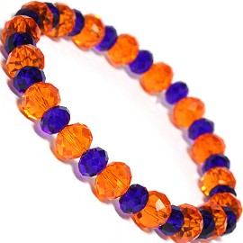 "Stretch Bracelet 7"" Crystal Oval 8mm 6mm Bead Blue Orange SBR490"
