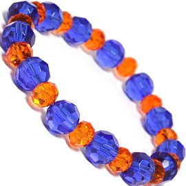 "Stretch Bracelet 7"" Crystal Oval 10mm 8mm Bead Blue Orang SBR491"