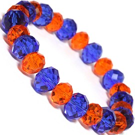 "Stretch Bracelet 7"" Crystal Oval 12mm 10mm Bead Blue Oran SBR492"