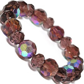 "Stretch Bracelet 7"" Crystal Oval 12mm 10mm Bead AB Purple SBR501"