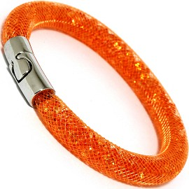 Mesh Net Crystal Orange Filled Bracelet Magnetic Clasp SBR503