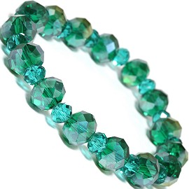 "Stretch Bracelet 7"" Crystal Oval 10mm 6mm Bead Teal Green SBR504"