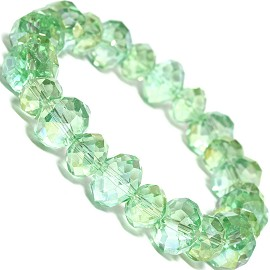 "Stretch Bracelet 7"" Crystal Oval 10mm 8mm Bead LT Green SBR505"