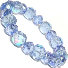 "Stretch Bracelet 7"" Crystal Oval 12mm 10mm Bead AB Blue SBR509"