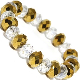"Stretch Bracelet 7"" Crystal Oval 12mm 10mm Bead Gold Clea SBR510"