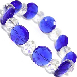 "Stretch Bracelet 7"" Crystal Disc Oval Bead Blue Clear SBR512"
