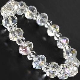 "Stretch Bracelet 7"" Crystal Oval 10mm 6mm Bead Clear SBR515"