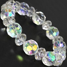 "Stretch Bracelet 7"" Crystal Oval 12mm 10mm Bead AB Clear SBR516"