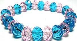 10mm Crystal Bracelet Stretch Pink Teal SBR52