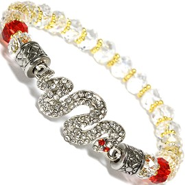 Snake Stretch Crystal Bracelet Rhinestone Crystal Clear SBR535