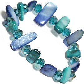 "Stretch Bracelet 6"" Crystal Rectangle Stone Blue Teal Gre SBR547"
