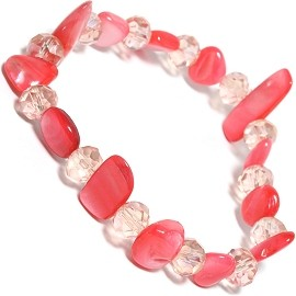 "Stretch Bracelet 6"" Crystal Rectangle Stone LT Red Clear SBR548"