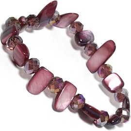 "Stretch Bracelet 6"" Crystal Rectangle Stone Beads Purple SBR551"