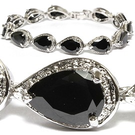 "7"" Zircon Tear Drop Crystal Bracelet Silver Tone Black SBR576"