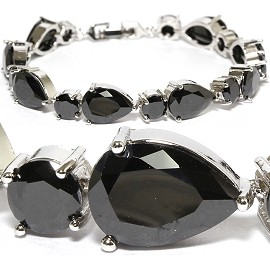 "7"" Zircon Tear Drop Circle Crystal Bracelet Silver Black SBR577"