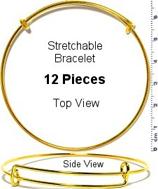 12pcs Thin Stretchable Bracelet Metallic Gold Tone SBR650