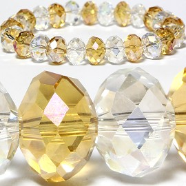 10mm Crystal Bracelet Stretch Yellow Clear SBR802