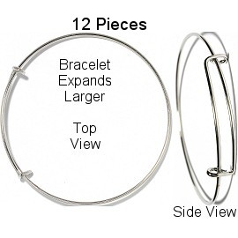 12pcs Silver Bangle Can Add Any charms SBR974