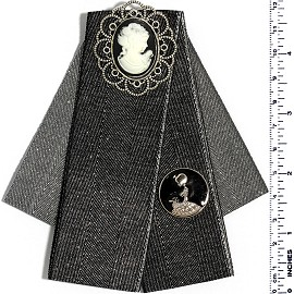 Fancy Brooch Tie Pin Oval Portrait Black Gray Silver Ivory Spp02