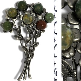Brooch Pin Pendant Marble Beads Flowers Green Metallic Spp174