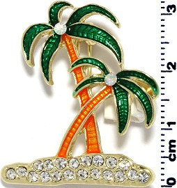 Brooch Pin Pendant Rhinestones Palm Tree Island Green Spp176