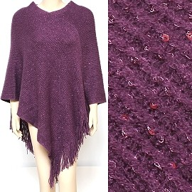 Sweater Poncho Thick Soft Darkk Purple shiny Purple Dots UH016