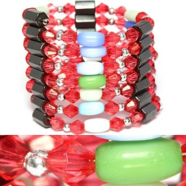 "10pc 34"" Magnetic Wrap Oval Multi Color Red W262"