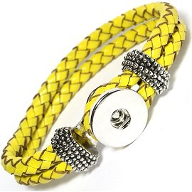 "1pc 7.5"" Bracelet, 1 Holder Snap On Leather Yellow ZB063 - Click Image to Close"