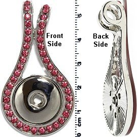 1pc Snap on Pendant Holder Rhinestones Silver Pink ZB092