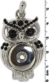 1pc Snap on Pendant Holder Owl Silver Black ZB096