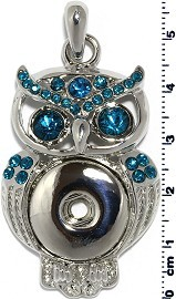 1pc Snap on Pendant Holder Owl Silver Turquoise ZB098