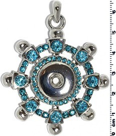 1pc Snap on Pendant Holder Wheel Silver Turquoise ZB108