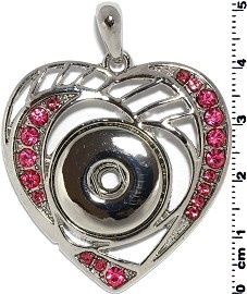 1pc Snap on Pendant Holder Heart Silver Pink ZB111